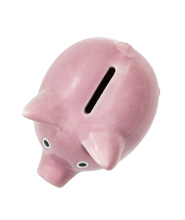 Vintage pink piggy bank coin slot isolated with clipping path  Stock Photo - 21892601