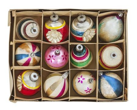 Box of old Christmas tree ornaments isolated with clipping path. Stock Photo - 21892956