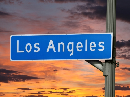 Downtown Los Angeles street sign with sunset sky. Stock Photo - 21892959