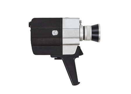 super 8: Vintage super 8 film camera with all text and markings removed, isolated with clipping path.