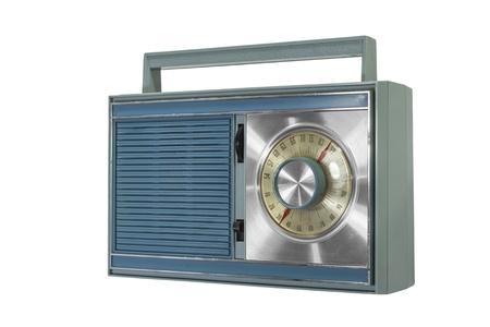 Retro portable radio isolated from the 1960s. Stock fotó