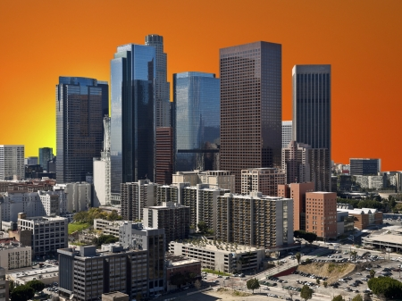 Downtown Los Angeles with orange sunset sky. Stock Photo - 22023311