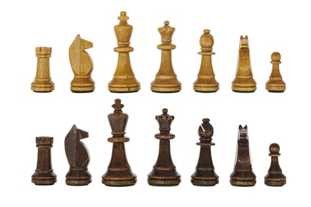 Vintage wooden chess set pieces isolated on white Stock Photo - 22023335