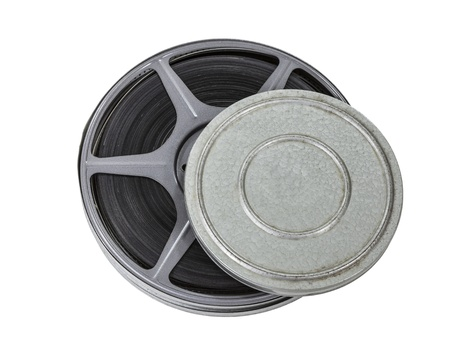 Film can and reel isolated on white Stock Photo - 22023344