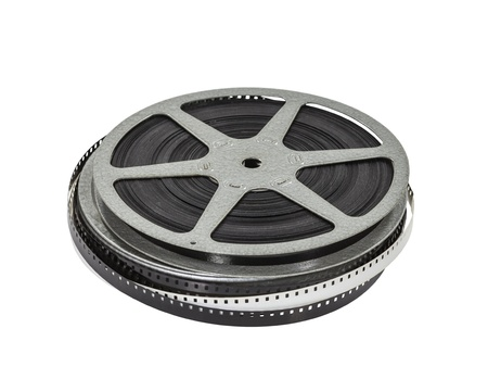 Vintage home movie film reel and can. Stock Photo