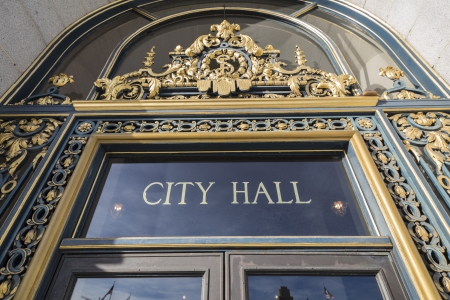 San Francisco, California, USA - January 15, 2013: Entrance to San Francisco's historic city hall.  Stock Photo - 22038379