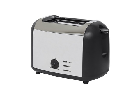 Common chrome toaster isolated with clipping path.