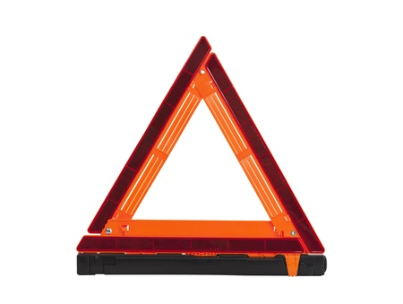 Emergency reflective road triangle isolated with clipping path. Stock fotó