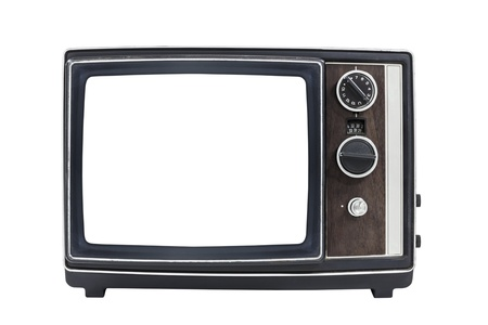 Vintage portable television with empty screen and clipping path. photo