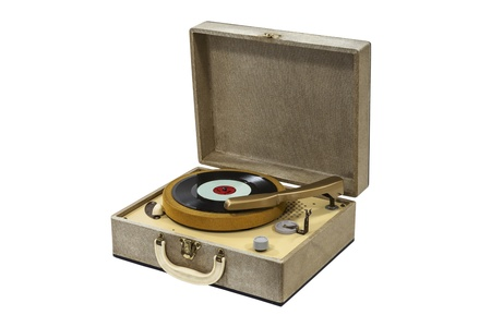 Little retro record player isolated with clipping path. photo
