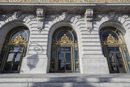 San Francisco, California, USA - January 15, 2013: Entrance to San Franciscos historic city hall.