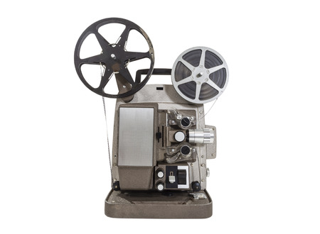 Old movie projector with film reels isolated. 版權商用圖片