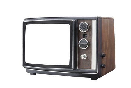 retro tv: Retro portable television set with cut out screen and clipping path. Stock Photo