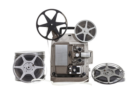 Vintage film with old projector isolated with clipping path