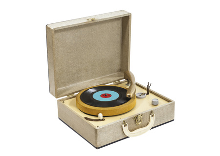 phonograph: Little vintage record player in box case isolated with clipping path  Stock Photo
