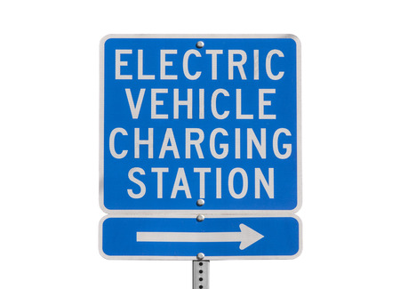 Electric vehicle charging station sign isolated with clipping path. Stock Photo - 22819538