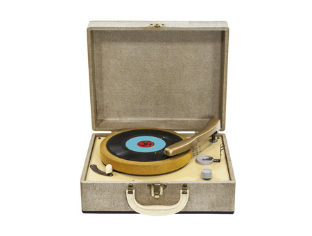 Old record player from the 1960s isolated with clipping path. Stock Photo - 22819539