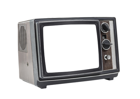 Little old television set isolated with cut out screen Stock Photo - 23214618