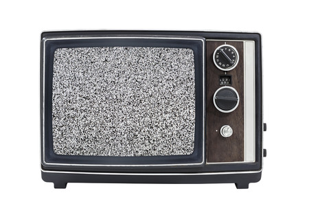 Static screen vintage portable television with clipping path Stock Photo - 23214663