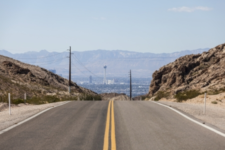 Desert road to the Stratosphere resort and the Las Vegas strip. Stock Photo - 22864234