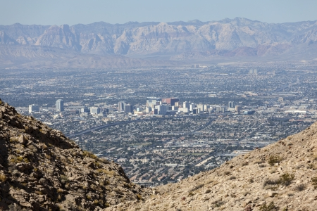Editorial view of downtown Las Vegas and the Spring Mountains.