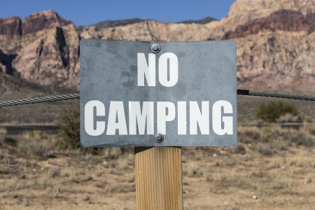 No camping sign on government owned parkland  Stock Photo - 23214665