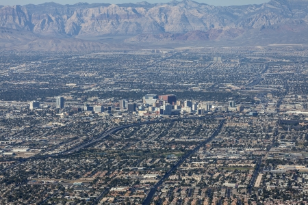 Editorial view of downtown Las Vegas and Red Rock Canyon national Convservation Area Stock Photo - 22892864