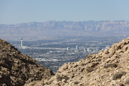 Editorial view towards Stratosphere Tower, downtown Las Vegas and Red Rock Canyon National Conservation Area. Stock Photo - 22946826