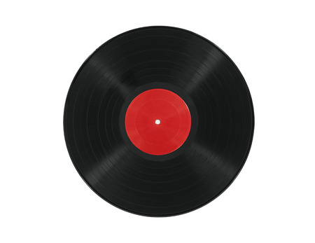 Vintage vinyl record with blank red label. Stockfoto