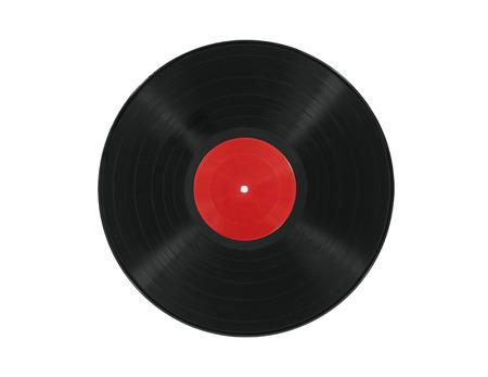 Vintage vinyl record with blank red label. 版權商用圖片