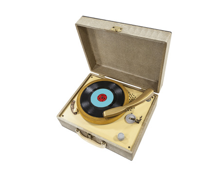 Vintage little record player in box. Stock Photo - 23214730