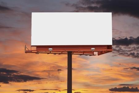 Big blank billboard with orange sunset sky. Stock Photo - 23214744