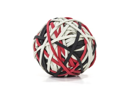 Rubber band ball shot on white. Stock Photo - 23214825