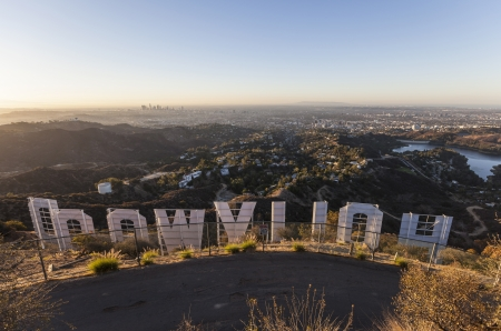 behind: Back of the Hollywood sign in early morning light
