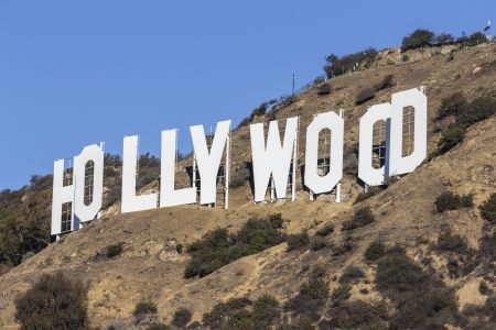 hollywood   california: Editorial view of world famous Hollywood Sign in Los Angeles, California.