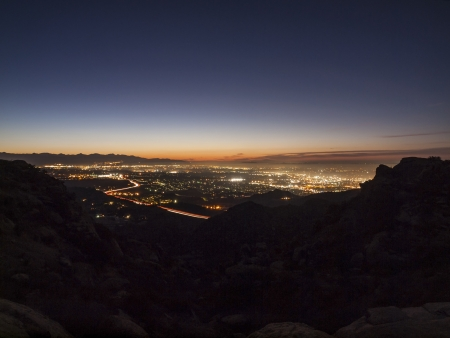 San Fernando Valley area of the city of Los Angeles at dawn   Photographed from the Santa Susana mountains above Chatsworth    photo