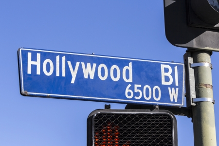 bl: Grungy old Hollywood Bl Los Angeles street sign.