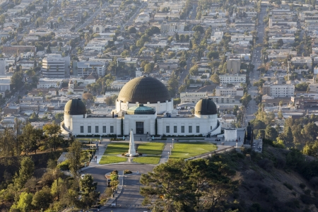 Editorial view of famous Griffith Park Observatory in Los Angeles.