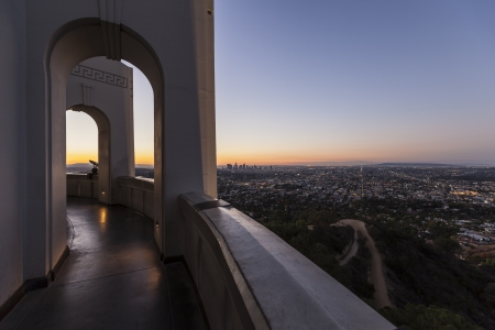 griffith: Editorial sunrise cityscape view from Los Angeless Griffith Park Observatory.