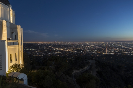 hollywood   california: Editorial dusk view of Griffith Observatory in Los Angeles, California.