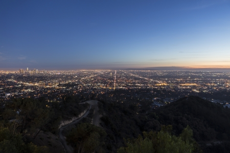 Dusk view of the Los Angeles Basin from Griffith Park.