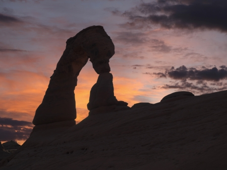 Delicate arch sunset in Utahs Arches National Park. photo