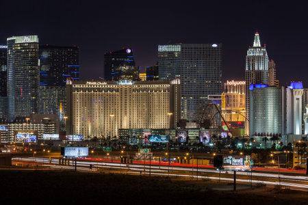 cosmopolitan: Editorial view of Las Vegas casino resorts and night traffic leading to the Las Vegas strip.
