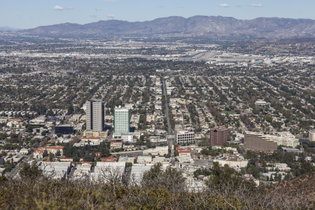 View of the media district in Burbank California from Mt Hollywood in Griffith Park