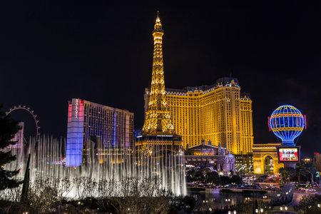 vegas strip: LAS VEGAS, NEVADA - December 26, 2013   Night view of Las Vegas Strip resorts and fountains at night