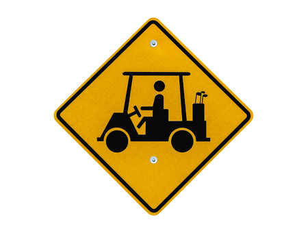 cart road: Golf cart crossing caution road sign isolated