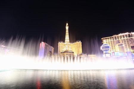bellagio: Las Vegas, Nevada, USA - December 26, 2013:  Famous Las Vegas Strip fountains in action at the upscale Bellagio Casino Resort. Editorial