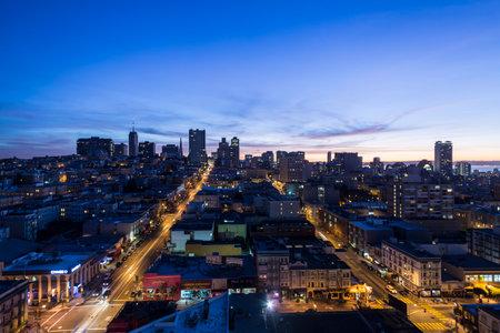 San Francisco, California, USA - January 15, 2013:  Dawn view of Nob Hill and downtown San Francisco.