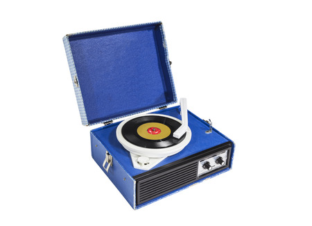 Old blue record player isolated photo