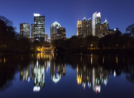 midtown: Midtown Atlanta highrise towers viewed from popular Piedmont Park. Stock Photo
